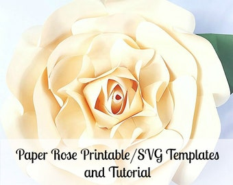 Large Paper Flowers, Giant Paper Flowers, Printable Rose Template, Paper Flowers, Rose Tutorial