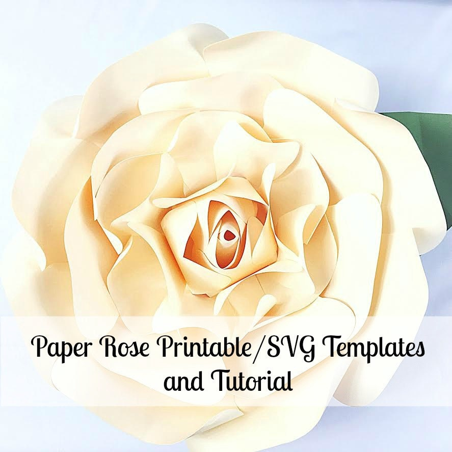 Large paper flowers giant paper flowers printable rose for Giant paper flower template free