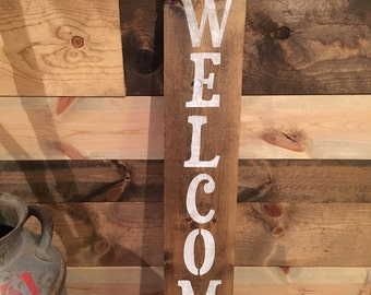 Welcome - Welcome Board - Welcome Decor - Rustic Welcome Board - Distressed - With Twine - Welcome Sign