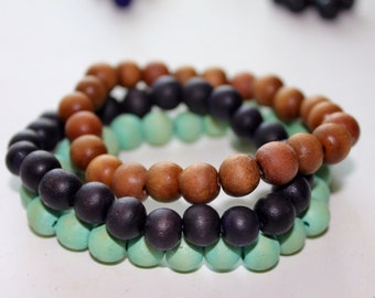 wooden beaded bracelets - set of 3, stackable bracelets, boho bracelet, wood bead bracelet, stretch bracelet, mala bracelet, mens bracelet