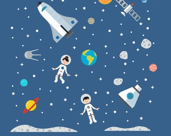 Space Nursery Decals, Space Nursery, Space Nursery Decal - X-Large