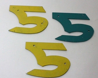 Set of three aluminum number 5s painted yellow and green...great for signs, collage