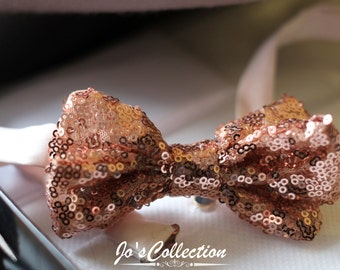 Bow Tie made with rose gold sequinned fabric for that special occasion.
