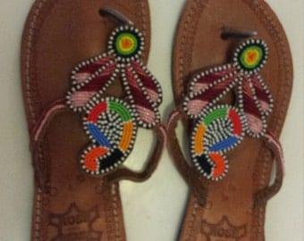 Handmade Beaded Leather Sandals
