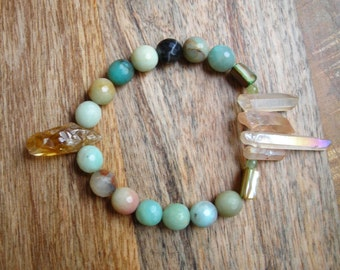 Amazonite and Citrine Beaded Bracelet