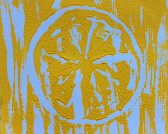 Fruit Linocut Print (Yellow)