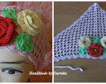 Summer knitted, delicate triangular scarf.