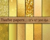 "Gold Foil Digital Paper: ""GOLD DIGITAL PAPER"" Metallic Gold Digital Paper Gold Paper Gold Backgrounds Digital Gold Foil Paper"