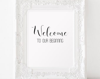 Welcome to our beginning Printable art Wedding reception decorations INSTANT DOWNLOAD Printable wedding sign