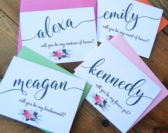 WILL YOU be MY Note Card Set, Will You Be My Cards, Maid of Honor Cards, Bridesmaid Cards, Flower Girl Cards, Note Card Stationery