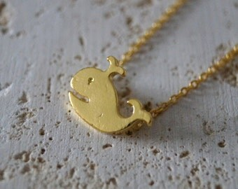 Tiny Whale Necklace - Whale Pendant - Gold/Silver Plated