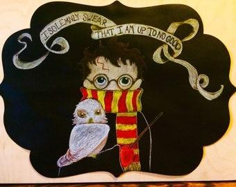 Harry Potter Chalkboard Drawing