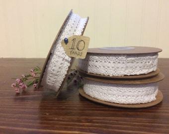 """1"""" White Lace Ribbon - 100% Cotton Lace - DIY Wedding Ribbon - HILS152-81"""