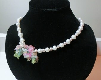 16-in Pearl & Gemstones Necklace