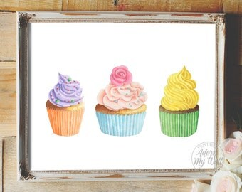 Cupcakes printable, kitchen wall art, decor, food art, kitchen printable, cupcake poster, instant download, kitchen art, cupcake print