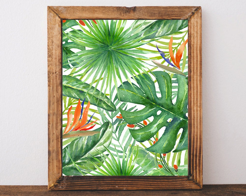 Tropical Leaves Palm Leaf Printable Wall Art Forest