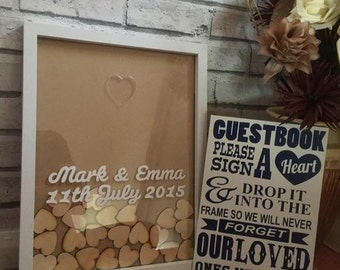 SALE** droptop guestbook, 100 hearts includes instruction board