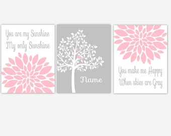 Canvas Baby Girl Nursery Dahlia Mums Flower Burst You Are My Sunshine Personalize Tree Dahlia Mum Modern Floral Artwok CHOOSE YOUR COLORS
