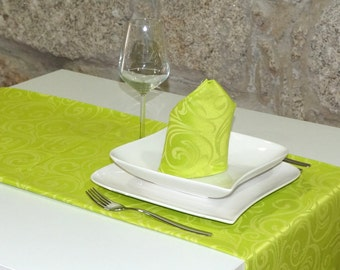 Luxury Green Table Runner - Anti Stain Proof Resistant - Pack of 2 units - Ref. Lyon
