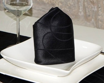 Luxury Black Napkins - Anti Stain Proof Resistant - Pack of 6 units - Ref. Lines