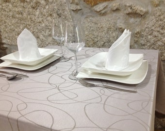 Luxury Silver Tablecloth - Anti Stain Proof Resistant - Large sizes - Ref. Lines