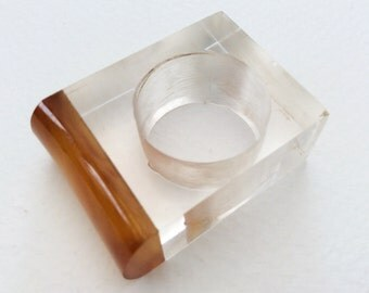 1960s Lucite Ring, Big Vintage Mod Statement Ring. One Of A Kind Vintage Costume Jewellery