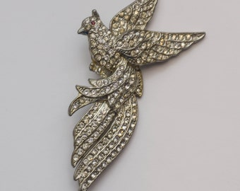 Large Vintage Bird of Paradise Pave Rhinestone Brooch