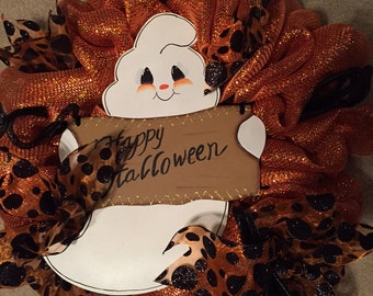 Happy Halloween Ghost Wreath