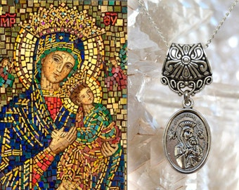 Our Lady of Perpetual Help Necklace Catholic Christian Religious Jewelry Medal Pendant Our Lady of Perpetual Succour