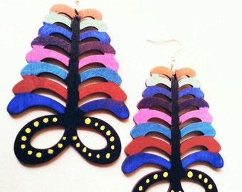 Multi color Aya African adinkra earrings