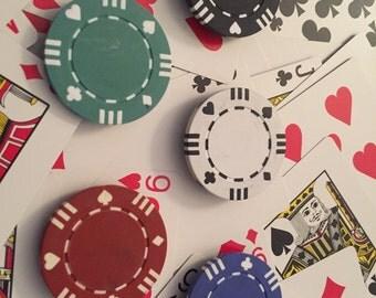 Lucky boy poker chip magnets