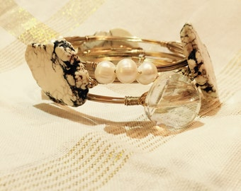 Set of Three Wire-Wrapped Bangles: White Stone, Glass, Pearl