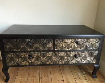 Upcycled spray-painted/decoupage Black Queen Ann Dresser - UK delivery available