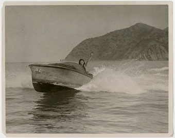 Louise Glaum Iconic Hollywood Flapper Silent Film Vamp Speed Boats Catalina Island California Vintage 1920s Black & White Candid Photograph