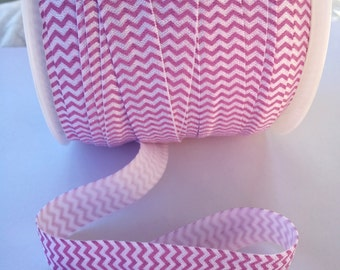 "Purple Chevron Fold Over Elastic, FOE 5/8"", DIY Hair Ties and Headbands, Elastic by the Yard 2, 5, 10 Yards"