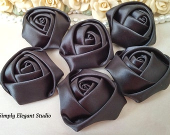 "1.8"" Black Satin Roses, 3 Vintage Rolled Fabric Rosettes, Baby Headband Flowers, Wedding Flowers, Flower Supply"