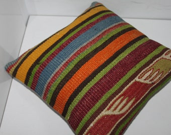 Free Shipping! Kilim Pillow 16x16 Home Decor Cushion Cover Vintage Turkish Anatolian Kilim Rug Decorative Pillow,Boho Pillow,Turkey Pilow
