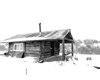 Trappers Cabin in the Snow: winter, cabin, Montana, rustic, wall art, Black and White