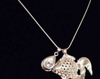 Koi and cubic zirconia necklace