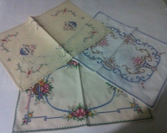 3 hand stitched doilies