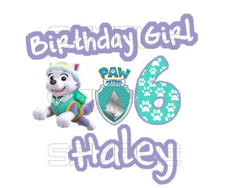 Paw Patrol Everest Birthday Girl Iron On Transfer Digital