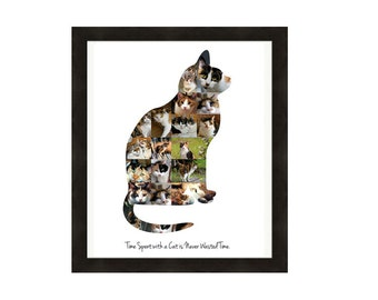 Cat Lover Gift, Personalized Picture Collage - Custom Made from Your Photos!  Feline, Kitten, Pet, Animal Memorial Gift