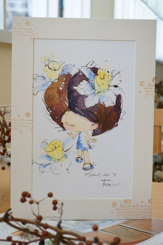 Original Watercolor Painting Flower series-f006 (7.5 x 9.8 inches)