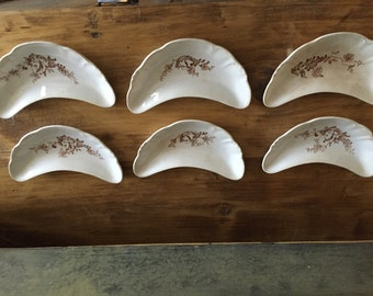 Antique Primitive Brown Transferware Dishes - Bone Plates - Set of Six