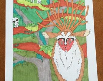 Princess Mononoke Forest Spirit Illustration
