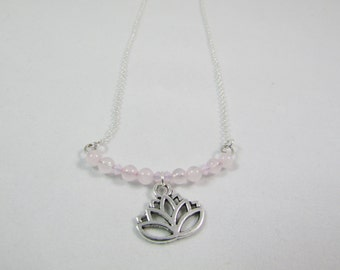 Lotus flower and Rose Quartz Necklace, 925 Sterling Silver,