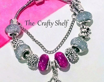 Silver and Purple Glitter Bead Lock and Key Charm Bracelet/Handbag and Bow Silver Charms/Gift for Her
