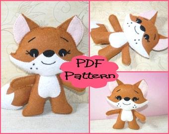 PDF Pattern - Little Fox, Felt Doll Pattern, Felt Animal Pattern, Felt Fox, Sewing Tutorial, Doll Tutorial, Felt Fox, Fox Plush, Fox Toy,