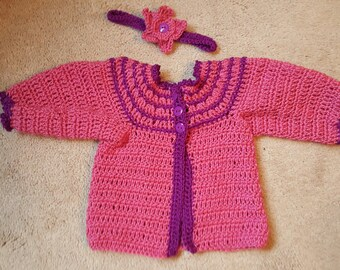Baby Girl sweater with headband Size 3 to 6 months