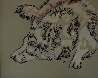 8.5x11 original hand painted acrylic wolf painting,wolf drawing,wolf art,national park artwork,wildlife art,wolf rustic artwork,lodge decor